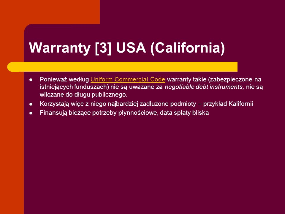 Warranty [3] USA (California)